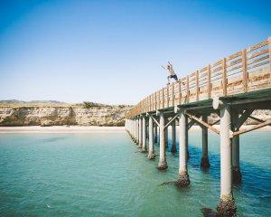 Jumping off the pier at Santa Rosa Island