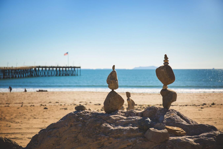 rocks piled at the ventura promenade