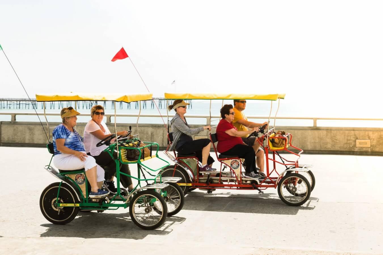Group biking on ventura promenade