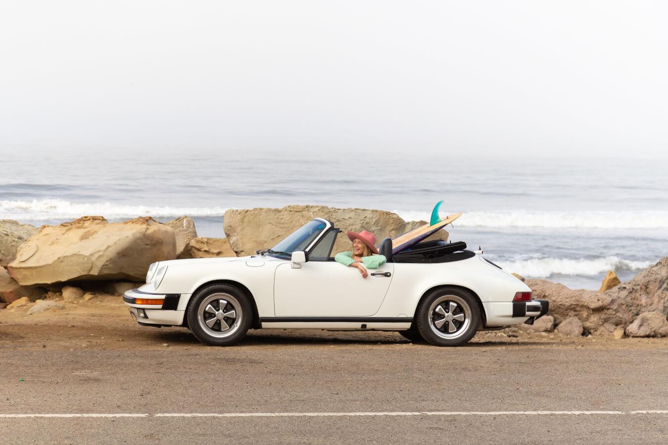 Briana in car on ventura coast