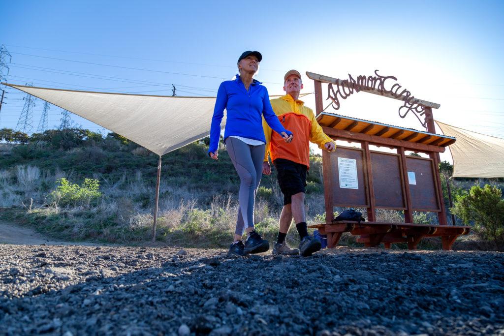 ken and kathy walking at harmon canyon