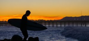 ventura surfers point sunset at the pier