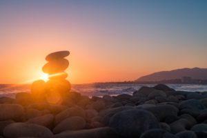 rock art ventura beach sunset