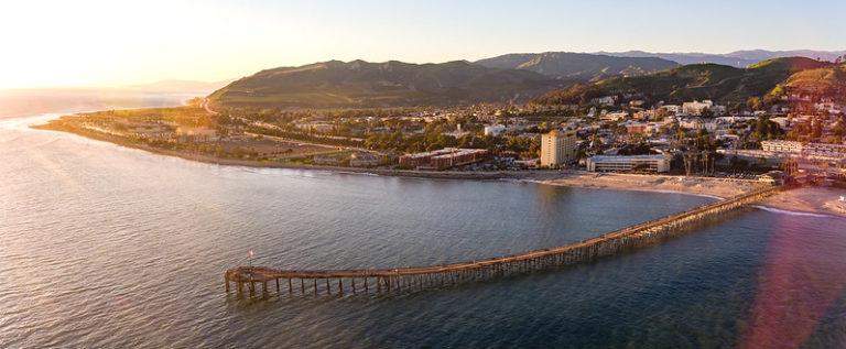 Ventura Pier sunset aerial