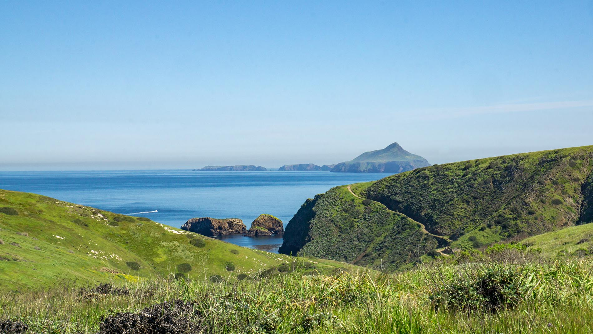 Sweeping views of the channel islands hiking trails and the Pacific Ocean.