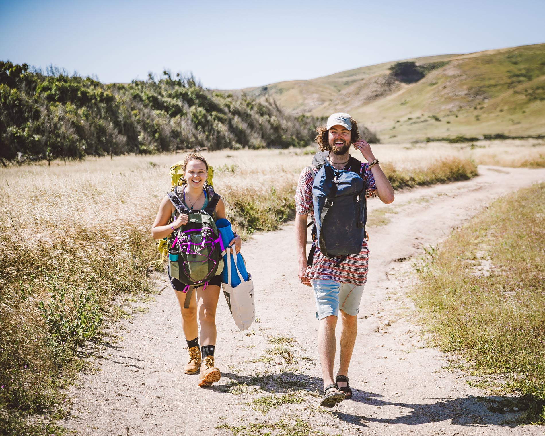Two hikers on the Torrey Pines trail