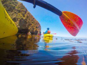 Friends Kayaking Through The Ventura Channel Islands