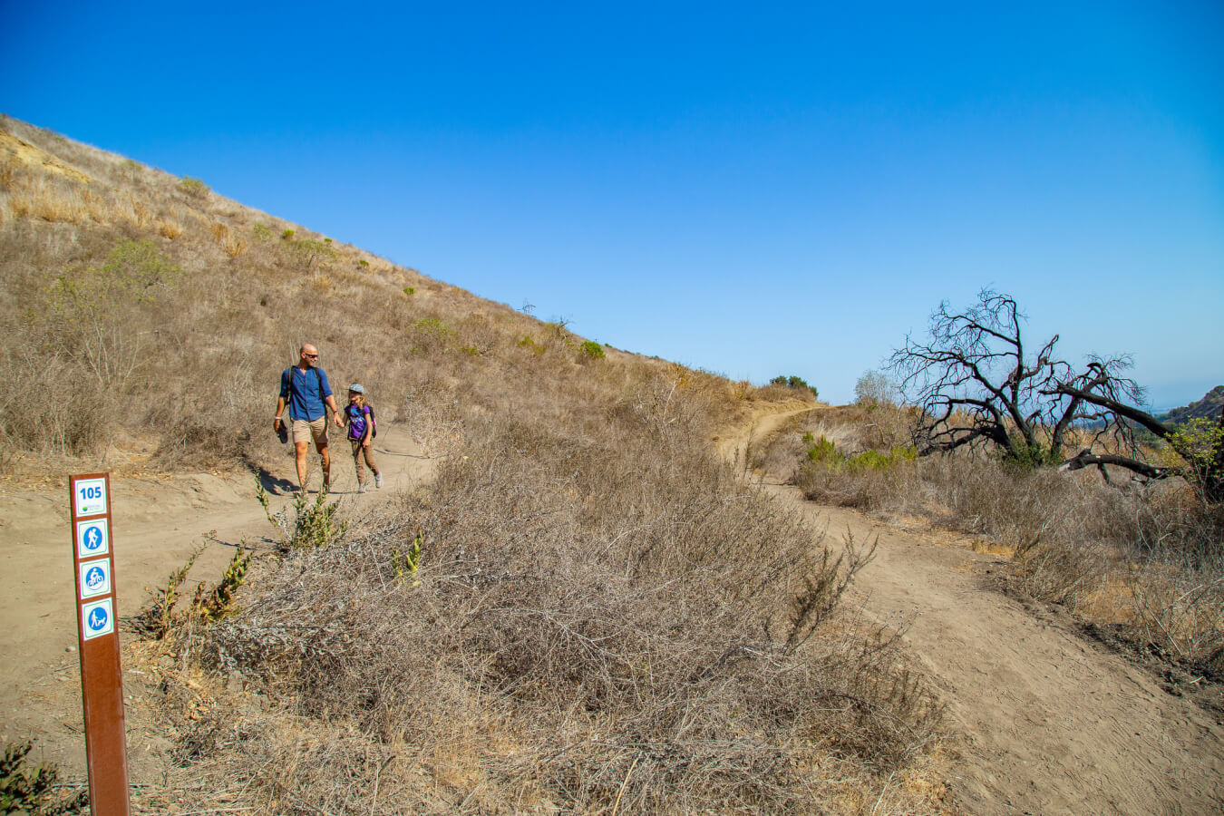 father and daughter hiking at harmon canyon