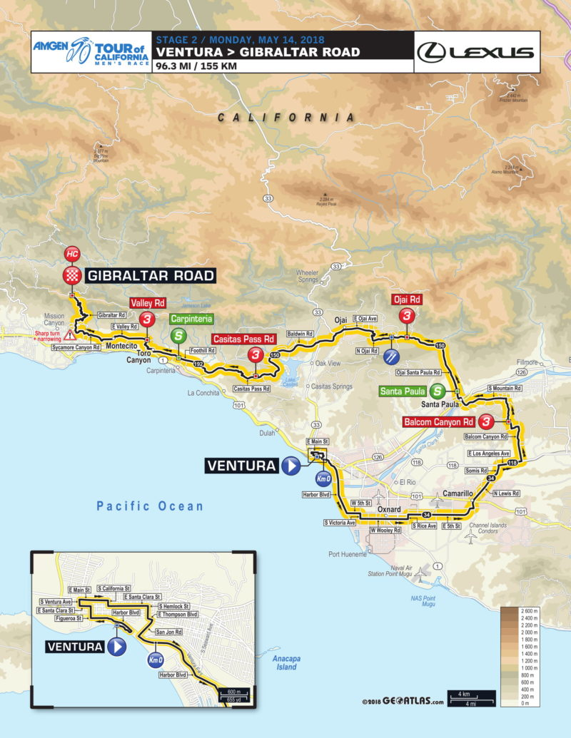 2018 Amgen Tour of California Stage Two Route
