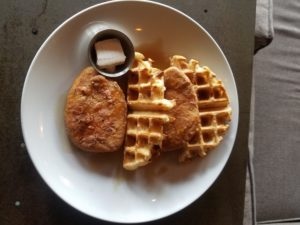 Vegan chicken and waffles at the Saloon in Ventura