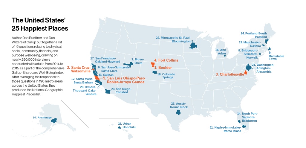 map of happiest cities in America