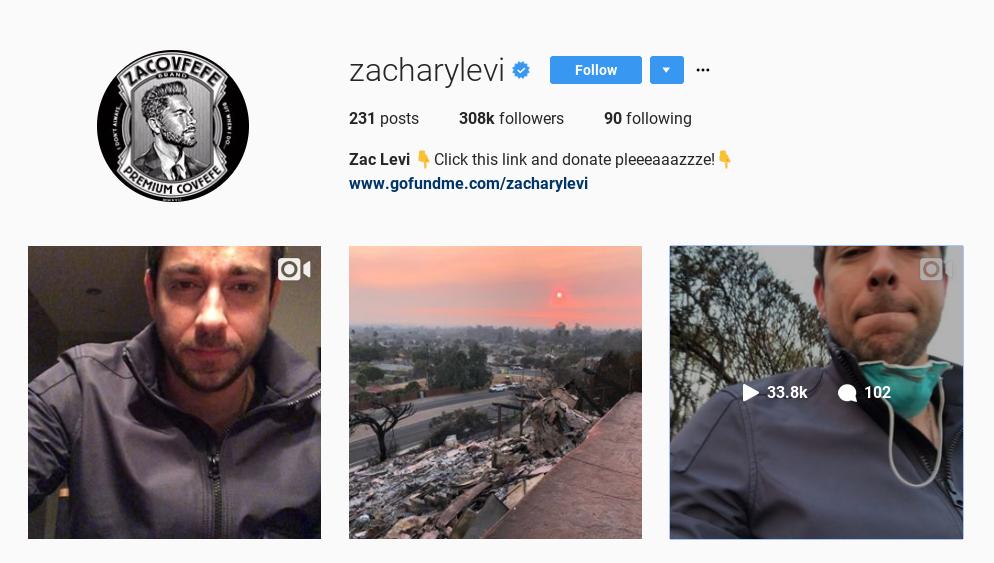 Zachary Levi Ventura CA instagram
