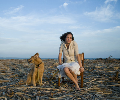 Casey Michelle Stevens poses for a self-portrait with her dog Sadie at Surfer's Point on Wednesday, August 13, 2008 in Ventura, Calif. Michelle grew up on a sailboat and loves to be on or near the water. (Photo by Casey Michelle Stevens ©2008)
