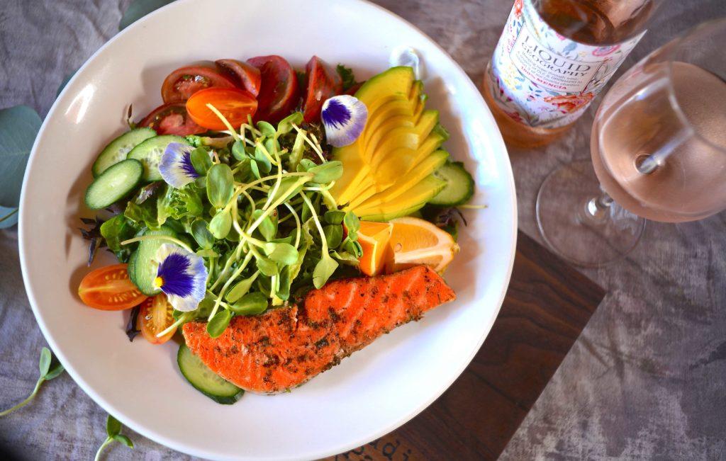 Salmon Salad with Rose' wine