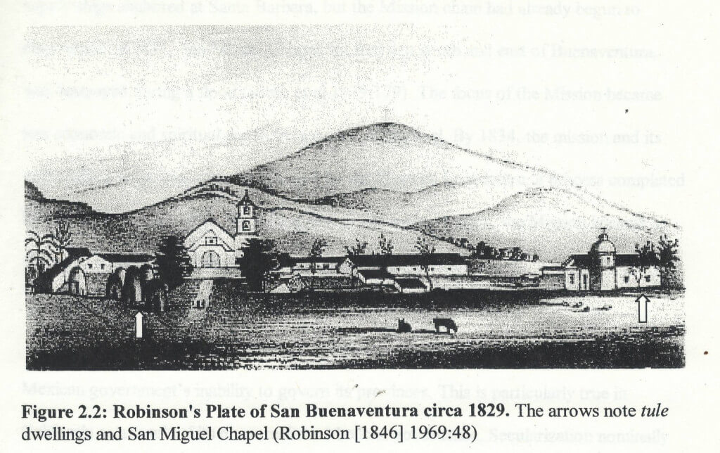 Drawing of a historical mission in Ventura, CA
