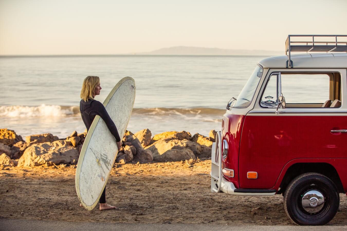 Surfer on the beach in Ventura, CA